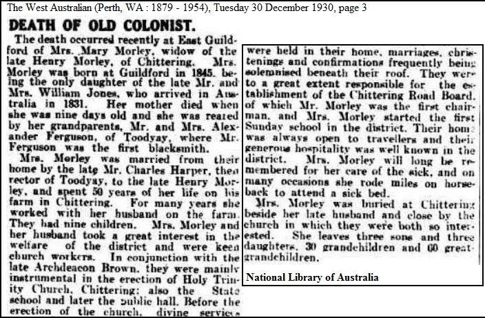 Obituary of Mary Morley of historic Enderslea Farm Chittering Valley